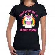 Bellatio Decorations Born to be a unicorn gay pride t-shirt zwart dames