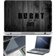 Finearts Laptop Skin Burnt Out With Screen Guard And Key Protector - Size 15.6 Inch