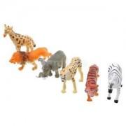 Alcoa Prime 6 Assorted Zoo Animals Plastic Tiger Lion Deer Animal Figures Children Gift