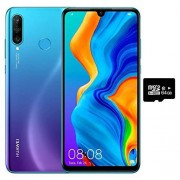 Huawei P30 Lite (256 GB, 6 GB RAM) 6.15 pulgadas, cámara triple de 48 MP, selfi de 32 MP, doble SIM GSM desbloqueada de fábrica 4G LTE (T-Mobile, AT&T, Metro, Cricket) versión internacional MAR-LX3Bm, 128GB + 64GB SD Bundle, Azul (Peacock Blue)