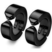 GadgetsDen Black Clip-on Press Unisex Stud Fashion non-piercing hoop earrings