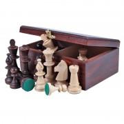 Piese de șah Staunton 5, în cutie de lemn maro închis