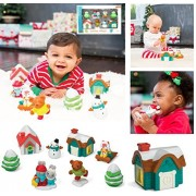 EXCLUSIVE Infantino Gaga - HOLIDAY VILLAGE - Includes 8 Pieces: Light-up Cottage, Holiday House, Sledding Foxes, Snow Man, Skating Bear, Winter Bunnies, and Two Trees