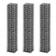 vidaXL Súprava gabiónov 3 ks, pozinkovaný drôt 25 x 25 x 150 cm