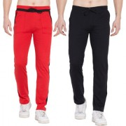 Cliths Cotton Track Pants for Men/Cotton Lowers For Men - Pack of 2 (Black Grey Red Black)