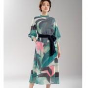 SUPERLADY シフォン素材ジャングルプリントワンピース【QVC】40代・50代レディースファッション