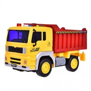 HALO NATION Dumper Truck Toy Friction Powered Construction Trucks Toys for Boys and Girls with Light and Sound, 4 Wheels, 1:20 Advanced Simulation Model-Engineering Series, Red and Yellow