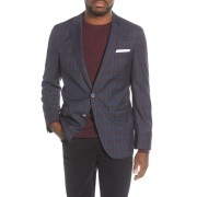 BOSS Hartlay Trim Fit Plaid Wool Sport Coat DK BU
