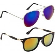 NuVew Aviator, Wayfarer Sunglasses(Blue, Golden, Green, Orange)