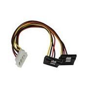 Câble répartiteur d'alimentation en Y LP4 vers 2 SATA à angle droit et verrouillage 30 cm - Molex 4 broches vers deux SATA