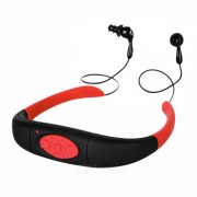 2-en-1 IPX8 impermeable auriculares auriculares auriculares reproductor de mp3 con 4 GB de memoria / FM - negro + rojo