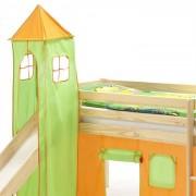IDIMEX Donjon MAX pour lit surélevé avec toboggan, vert/orange
