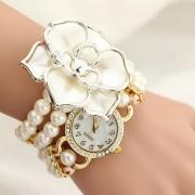 Ceas elegant cu floricica si bratara din perle albe