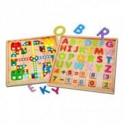 Joc educativ prescolar cu 2 fete tabla de joc si tablou numeric cu Litere Cifre si Simboluri 3 ani+