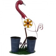 Wonderland Pink Bird with two Pot / planter (Garden Decor home planter Gift Item)