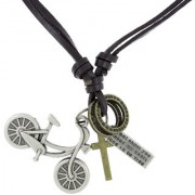 The Jewelbox Hip Hop Punk Cycle Cross Bronze Vintage Dog Tag Oxidised Plated Leather Pendant Chain