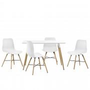 [en.casa] Juego de comedor - mesa blanca 120 x 70 x 75cm + sillas blancas 80 x 44,5cm