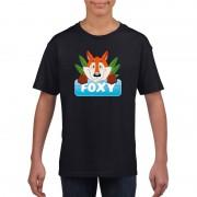 Bellatio Decorations Vossen dieren t-shirt zwart voor kinderen
