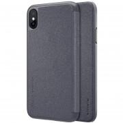 Nillkin Para IPhone X Frosted Textura PC Funda De Cuero Flip Horizontal (negro)