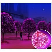 100 LED Impermeable Al Aire Libre Día De Navidad Luces Decorativas Alambre De Cobre LED Solar-Morado