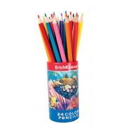 Set 24 creioane colorate hexagonale in tub