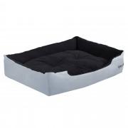 [en.casa]® Pelíšek - pro kočičky a pejsky - s oboustranným polštářem - oxford látka / PP-bavlna - 75 x 56 x 19 cm [L] - šedý / černý
