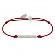 Les Poulettes Bijoux Bracelet Lien Argent Petite Barrette de Strass - Rouge