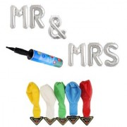 De-Ultimate Set Of MR MRS Letters Foil Balloons 5 LED Lights Balloon Inflator Air Pump For Anniversary Parties Decor