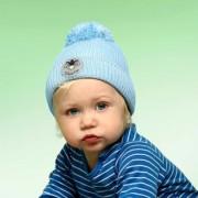 Twinkle Kid Reflektor-Mütze reflektierende Kindermütze mit Leuchtbommel, Blau, Gr. 46/48