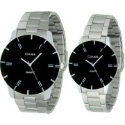 Crude Couple Combo of Analog Watch-rg583 With Stainless Steel Strap