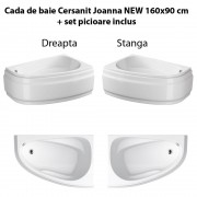 Cada de baie Cersanit Joanna NEW 160x95 cm + set picioare inclus, Dreapta