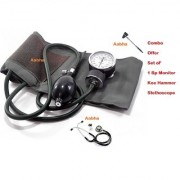 AAbha Combo Offer aneroid sphygmomanometer (1 Dial Bp Monitor + 1 Stethoscope + Knee Hammer) For Medical Students