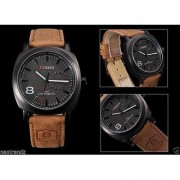 Sober NEW BRAND Round Dial Brown Leather Strap Mens Watch FOR BOYS