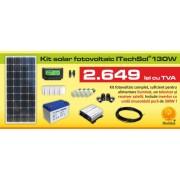 Kit (sistem) solar fotovoltaic ITechSol® 130W pentru iluminat 12V si invertor pentru alimentare TV si receiver satelit