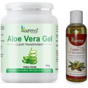 KAZIMA Aloe vera Gel Raw (500 Gram) and Castor Oil 100ml - 100% Pure Natural Raw Combo Pack - Ideal for Hair Growth Skin Treatment Face ACNE Scars Moisturizer