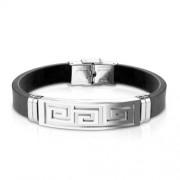 Fekete kaucsuk karkötő, ezüst színű görög mintás nemesacél dísszel