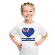 Bellatio Decorations Nieuw Zeelandse vlag in hartje shirt wit kind