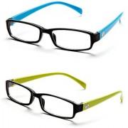 Magjons Aqua And Green Rectangle Unisex Eyeglasses Frame set of 2 with case