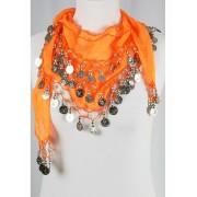 Duizend en één nacht muntjes sjaal in oranje met silvertone muntfranje