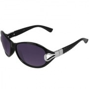 Silver Kartz Luxury Black Pyramid Wayfarer Rectangular Wrap-around Sunglasses (Black Violet)