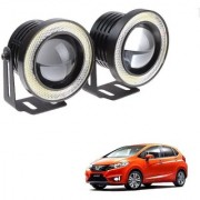 Auto Addict 3.5 High Power Led Projector Fog Light Cob with White Angel Eye Ring 15W Set of 2 For Honda New Jazz