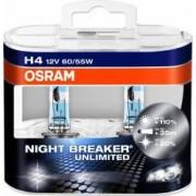 Set 2 becuri auto Osram H4 12V 60 55W P43t Night Breaker Unlimited