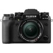 Fujifilm Systemkamera Fujifilm X-T2 Kit inkl. XF 18-55 mm 24.3 MPix Svart 4K-video, WiFi, Vrid-/svängbar display, Blixtskon