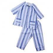 ≪CLEAL HOUSE≫綿100%婦人パジャマ ストライプ柄・六分袖×七分丈パンツ(サックス)