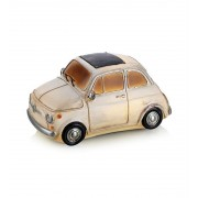 NOSTALGI Borddekoration Fiat hvid bil til batteri