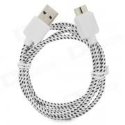 Micro USB 3.0 Tipo B Data / Cable de carga para Samsung Nota 3 / N9000 - Blanco + Negro + Plata (1m)