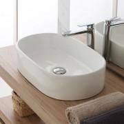 BAGNO Lavabo Ovale À Poser 47x43 Cm En Céramique Blanche Brillant Blanc - Standard
