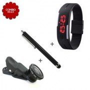 Combo of 3 IN 1 Camera Lans Touch Screen Stylus Pen K3 Silicone Watch - Assorted Color