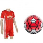 Combo of Barclays Red/White Football (Size-5) with Suit (Jersey + Shorts)