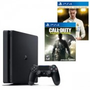 Конзола PlayStation 4 Slim 500GB Black, Sony PS+Игра FIFA 18 Ronaldo edition за Playstation 4+Игра Call of Duty: Infinite Warfare